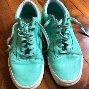 Vans teal leather. Original laces. Mint condition.